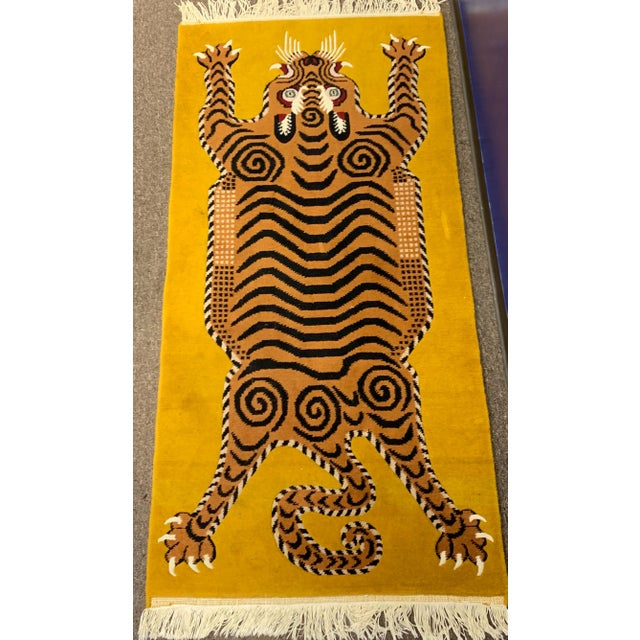 Hand Knotted Tibetan Tiger Rug For Sale - Image 4 of 9