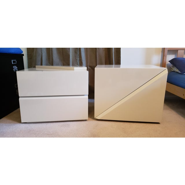 Mid-Century Modern Rougier Cream Colored Lacquered End Tables - A Pair For Sale - Image 3 of 12