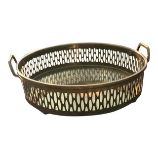 Pierced Brass Tray with Handles For Sale