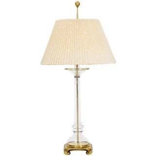 Brass & Glass Lamp W/ Shade by Speer For Sale