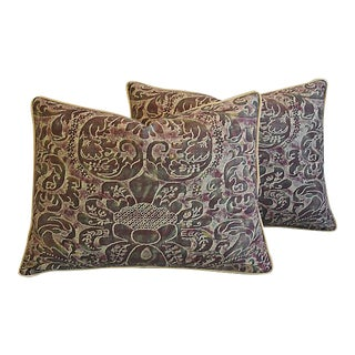 "24"" x 18"" Custom Tailored Italian Fortuny Caravaggio Feather/Down Pillows - Pair For Sale"