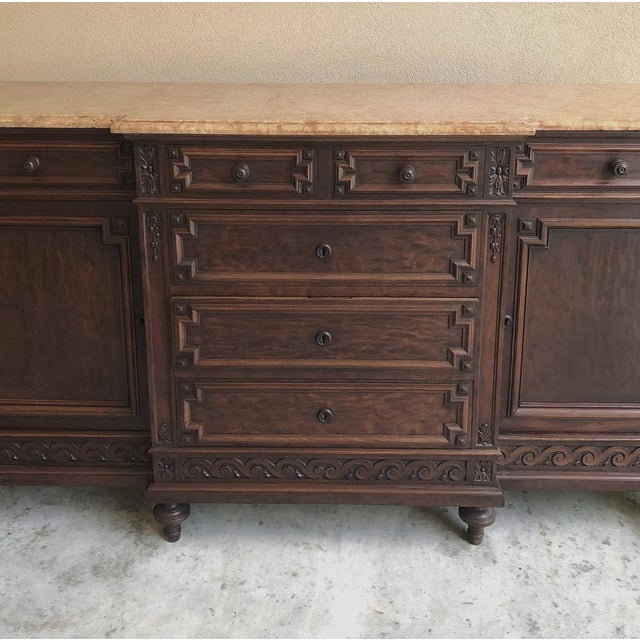 Late 19th Century 19th Century French Louis XVI Mueche Mahogany Marble Top Dresser ~ Cabinet For Sale - Image 5 of 13