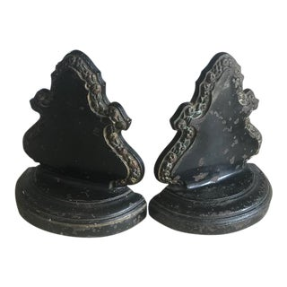 Ceramic Coated Cast Iron Bradley & Hubbard Bookends - a Pair For Sale