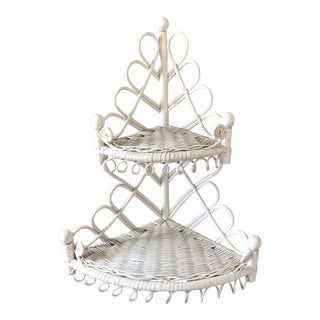 Vintage White Rattan Wicker Corner Wall Shelf For Sale