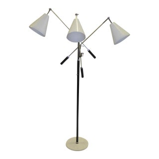 1960s Angelo Lelli Style Triennale Three Arm Articulating Floor Lamp