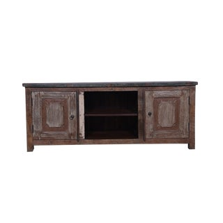 Talbot Rustic Wooden Media Cabinet for Living Room, Dining Room, Wooden Storage Chest, Brown Color, Natural Finish For Sale