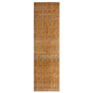 Vintage Mid-Century Yellow Wool Runner Rug - 3' x 10' For Sale