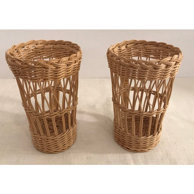 Boho Chic Vintage Wicker Handled Glass Holders - A Pair For Sale - Image 3 of 8