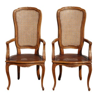 Pair Vintage French Country Villandry Oak Cane Side Chairs by Henredon For Sale