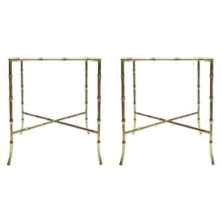 Pair of Brass Bamboo Chinoiserie Side Tables