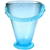Image of Murano Iridescent Blue Italian Art Glass Flower Vase With Applied Rope Decor For Sale