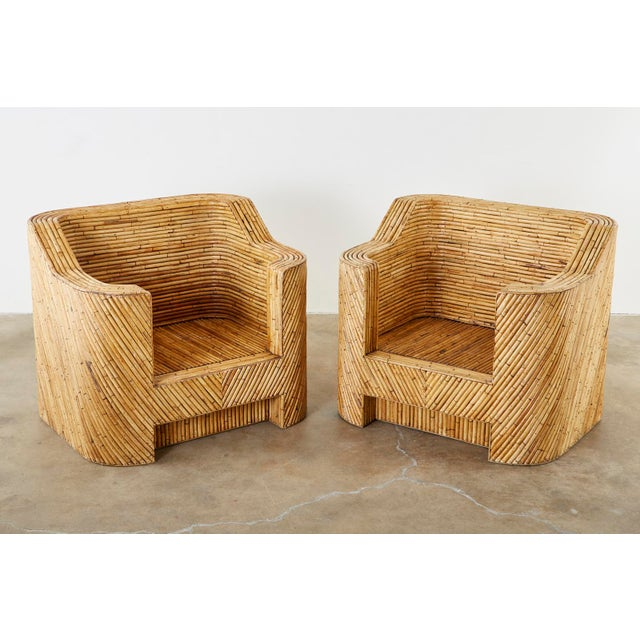 Gabriella Crespi Pair of Gabriella Crespi Inspired Bamboo Rattan Lounge Chairs and Ottoman For Sale - Image 4 of 13