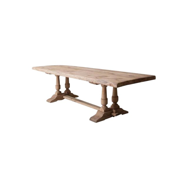 19th Century French Large Bleached Oak Provençal Style Trestle Table For Sale