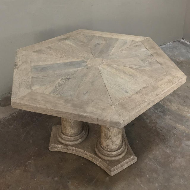Mid-Century Neoclassical Limestone and Oak Center Table For Sale - Image 12 of 13