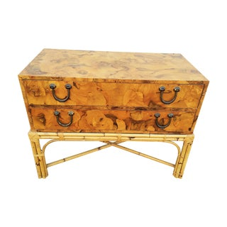 Mid-Century Oyster Burl Chest of Drawers For Sale