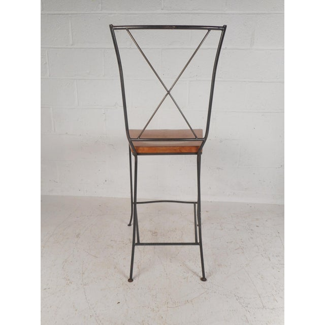 1960s Set of Four Mid-Century Iron and Wood Bar Stools For Sale - Image 5 of 12