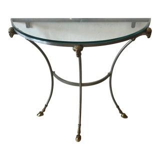 Maison Jansen Style Steel & Brass Demilune Console With Rams Heads For Sale