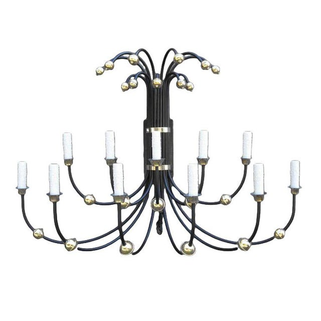 Metal Mid-Century Large Wall Sconce With Brass Accents For Sale - Image 7 of 7