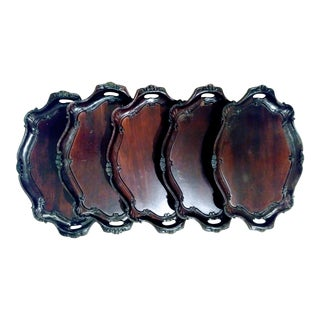 Set of 6 Carved Rocco Dark Stsined Wood Decorative Italian Trays From Neiman Marcus For Sale