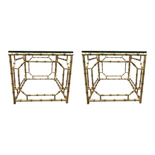 Pair of Hollywood Regency Gilt Metal Faux Bamboo Tables For Sale