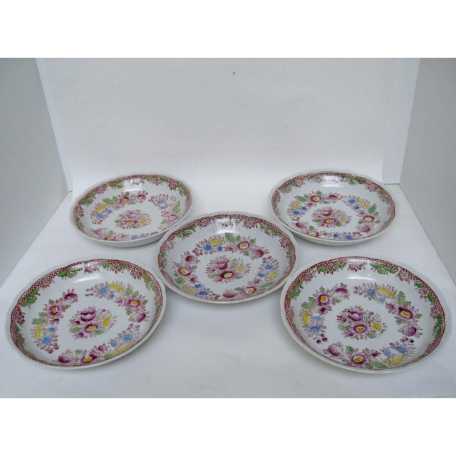 Vintage Japanese porcelain bowls by Mikori Porcelain with transferware design of lilac & yellow flowers (discontinued...
