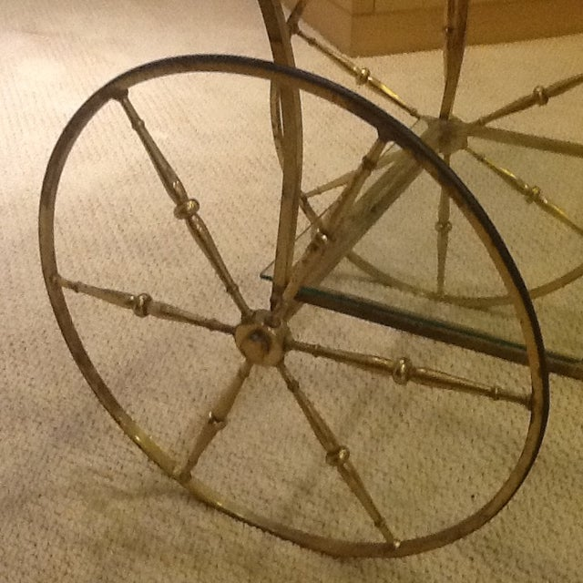 Vintage Mid Century Glass and Brass Bar Cart For Sale - Image 4 of 7