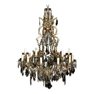 19-Light Maria Theresa Chandelier, Antique Ceiling Lamp Lustre Art Nouveau Large For Sale