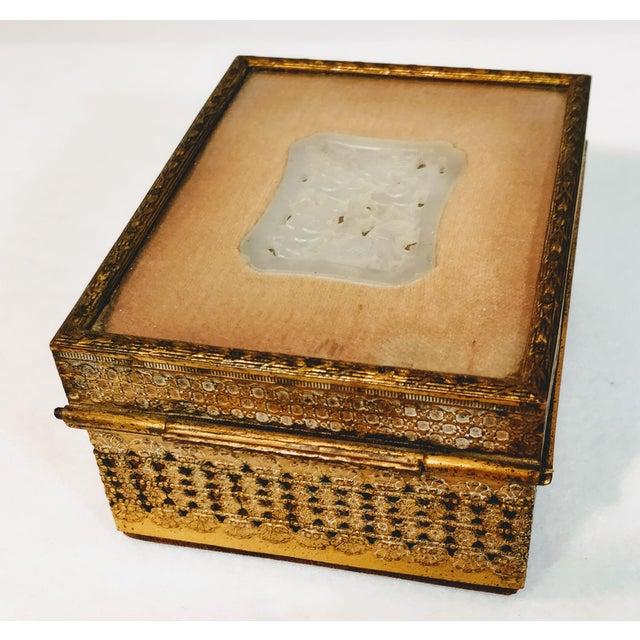 Art Deco 20th Century Chinese Jade Velvet Trinket Jewelry Box For Sale - Image 3 of 10