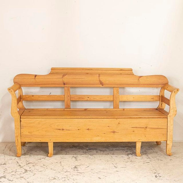 Mid 19th Century Antique Pine Swedish Bench With Storage For Sale - Image 4 of 7
