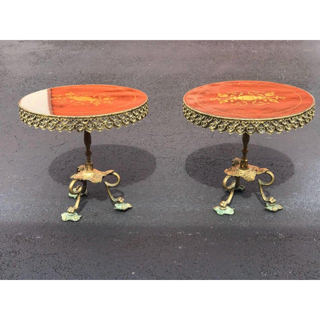 1940s Mid Century Modern Orange and Brass Side Tables - a Pair For Sale - Image 4 of 4