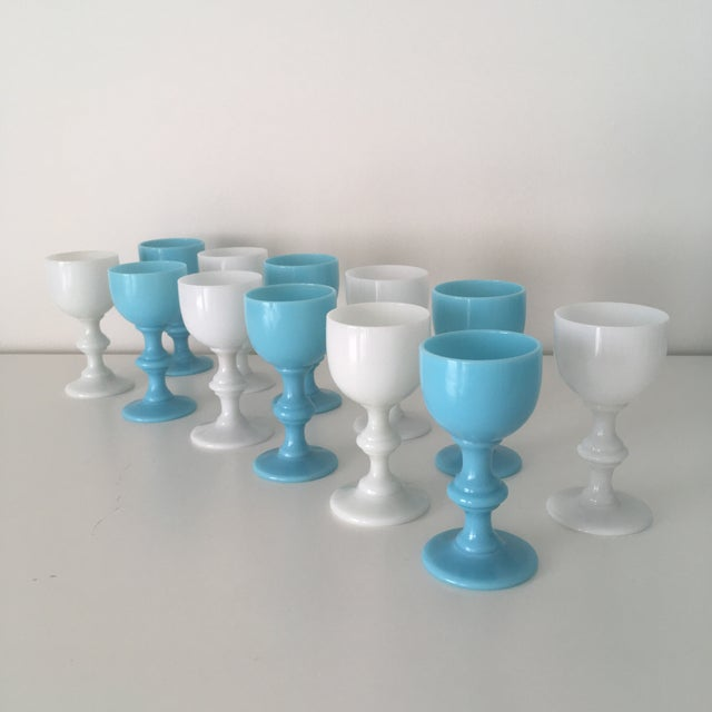 Portieux Vallerysthal 1900s Blue & White French Portieux Vallerysthal Cordials - Set of 12 For Sale - Image 4 of 4