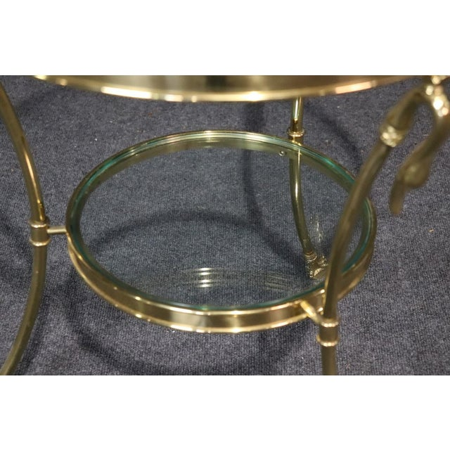 Regency Style Glass Top Brass Gueridons - a Pair For Sale - Image 10 of 11