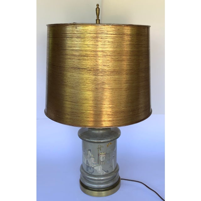 Metal Chinese Motif Ceramic & Brass Table Lamp For Sale - Image 7 of 7