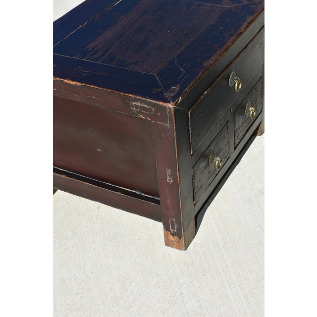 Black Antique Small 3 Drawers Heavy Chest For Sale - Image 8 of 13