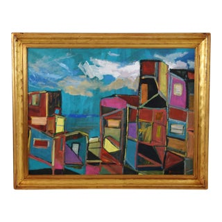 "Ventura Cityscape Abstract Oil Painting by Juan ""Pepe"" Guzman For Sale"