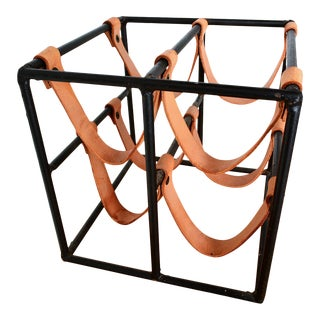 Arthur Umanoff Vintage Wine Rack in Iron and Leather For Sale