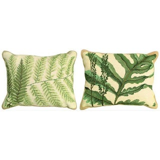 Fern Needlepoint Pillows - A Pair