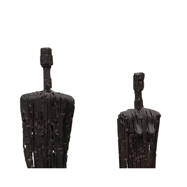 Contemporary Metal Figures of Man and Woman - a Pair For Sale - Image 4 of 5