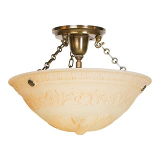 Small Painted Glass Bowl Fixture For Sale