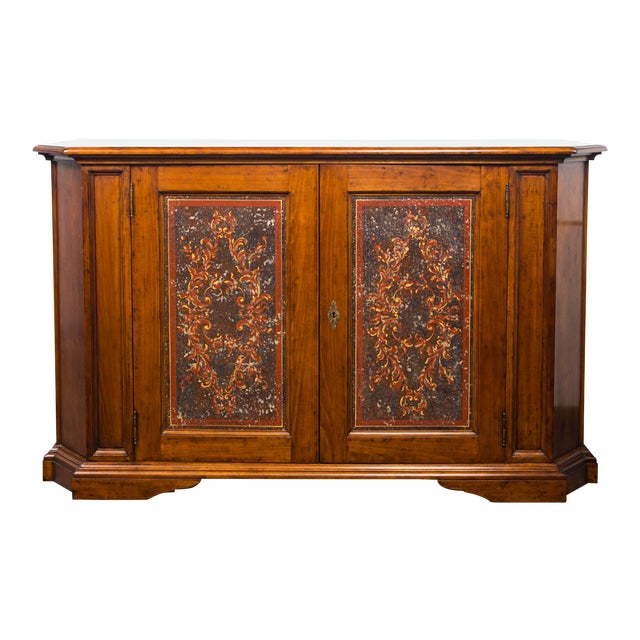 Italian Two Door Credenza With Painted Panels For Sale
