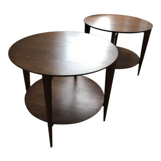 Gio Ponti Tiered Walnut Occasional Tables by Singer & Sons - a Pair For Sale