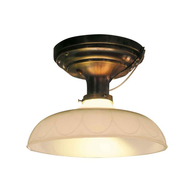 Victorian Flush Mount Light with Antique Brass Canopy - Image 3 of 5