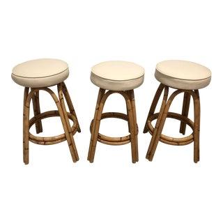 Vintage White Cushion Bamboo Barstools - Set of 3