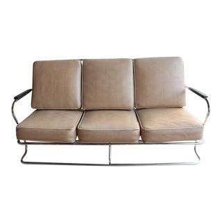 Art Deco Tubular Chrome Sofa in the style of Kem Weber For Sale
