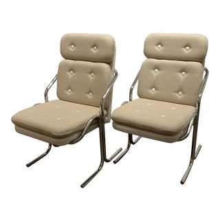 Chrome High Back Chairs With New Upholstery - a Pair For Sale