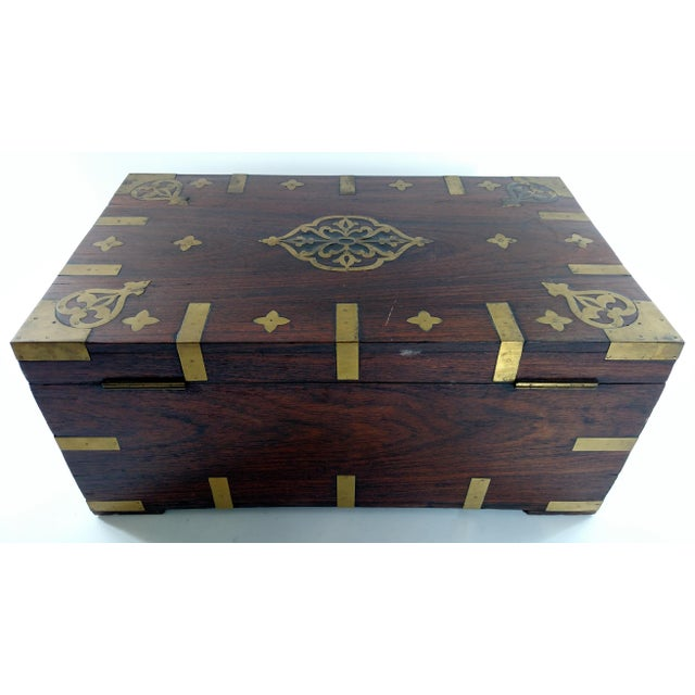 Vintage Brass and Rosewood Indian Chest - Image 4 of 9