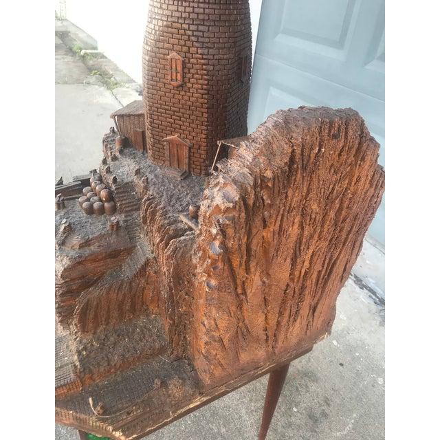 Lighthouse + Village Wood Carved Sculpture For Sale - Image 10 of 13