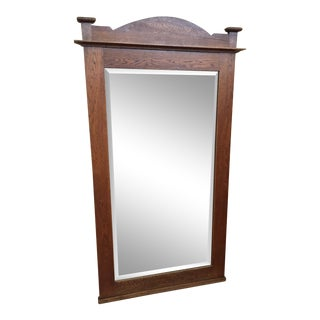 Antique French Oak Not Quite Full Length Mirror With Original Glass For Sale