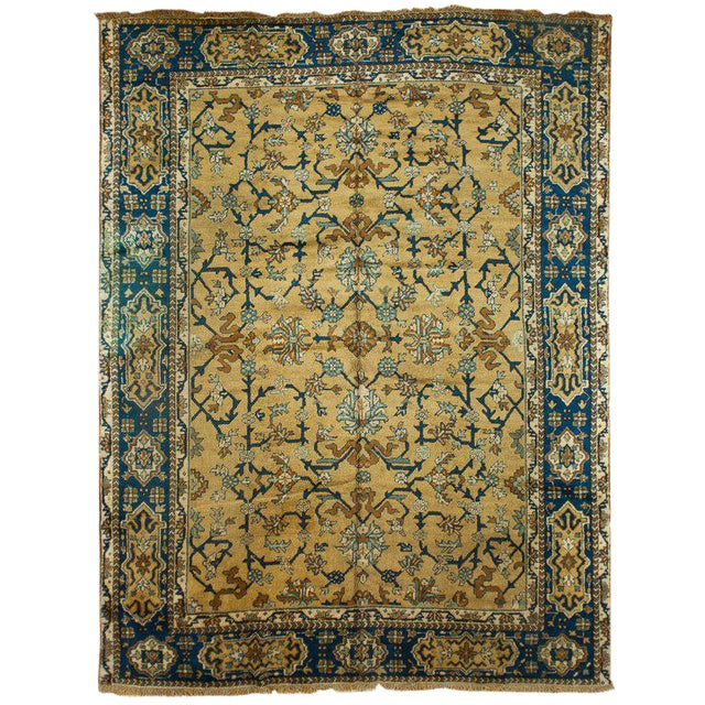 Antique Blue & Tan Turkish Rug - 8′10″ × 11′7″ For Sale
