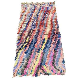 Wavy Multicolored Moroccan Boucherouite Rug For Sale